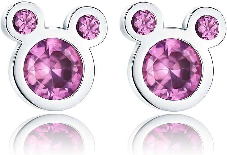 2. Presentski Sterling Silver Cute Mouse Pink Earrings