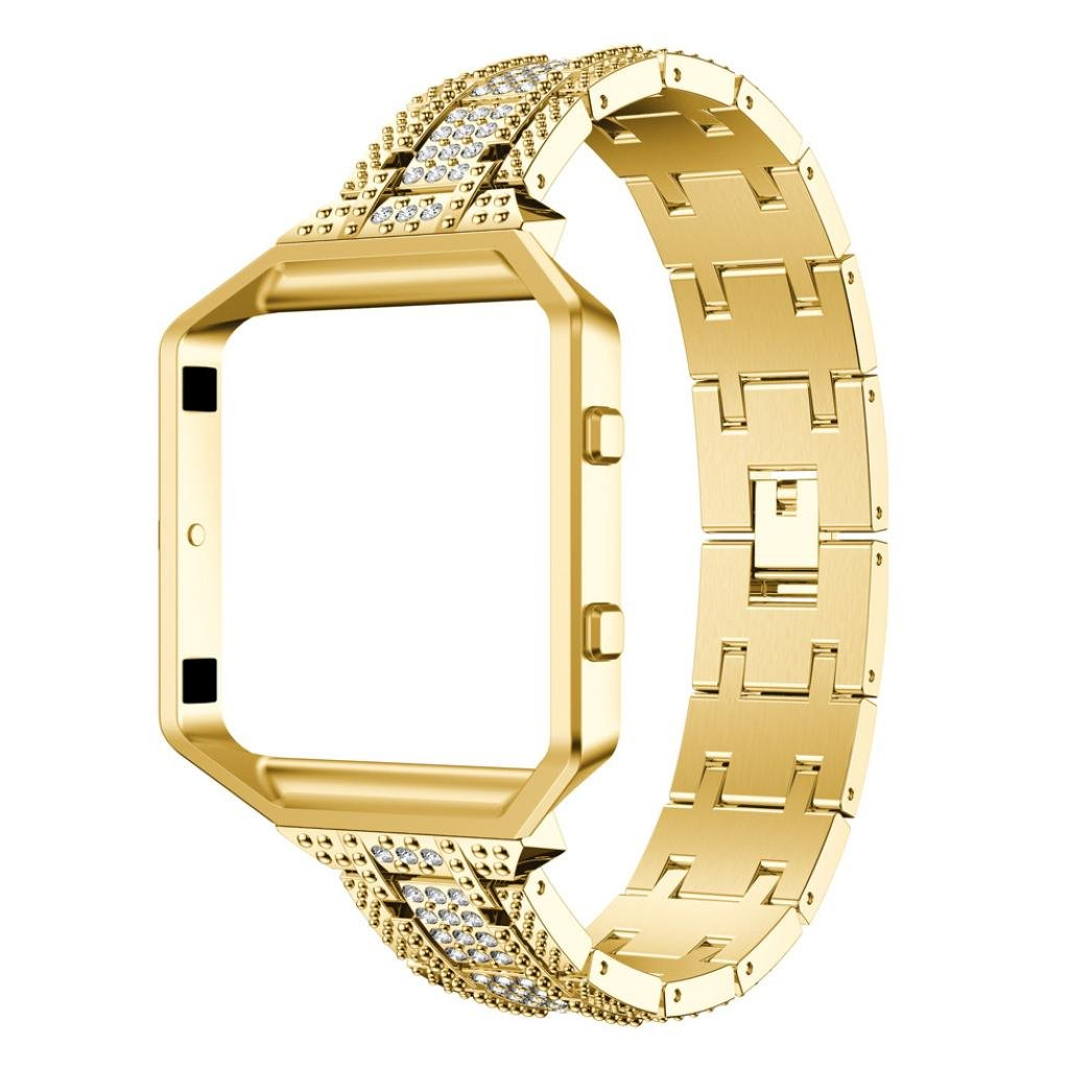 For Fitbit Blaze Bands, Gotd Luxury Alloy Crystal Watch Band Wrist Strap With Metal Frame For Fitbit Blaze, Large Small (Gold)