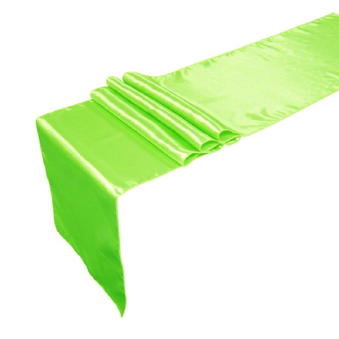 Satin Table Runners 30X250cm Wedding Banquet Decoration Back Party Bridal Cover Solid Fluorescent green Luwu-Store 1367549