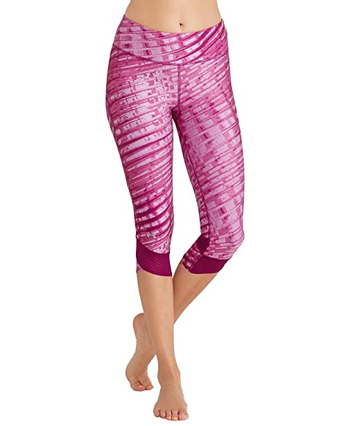c1be6db851cc61 Under Armour Women's UA Fly-by Printed Capri, Black/Reflective XS (US