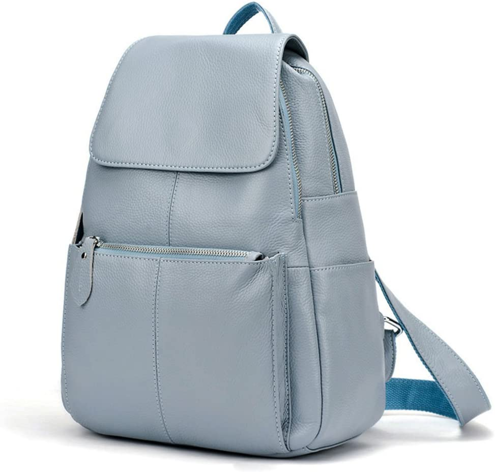 15 Colors Real Soft Leather Women Backpack Fashion Ladies Travel Bag Preppy Style Schoolbags For Girls (Blue Grey)