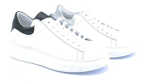 Lacci Ni2547 Bianca Pelle Bordo Glitter Nerobianca Sneaker Ovye exCBdo