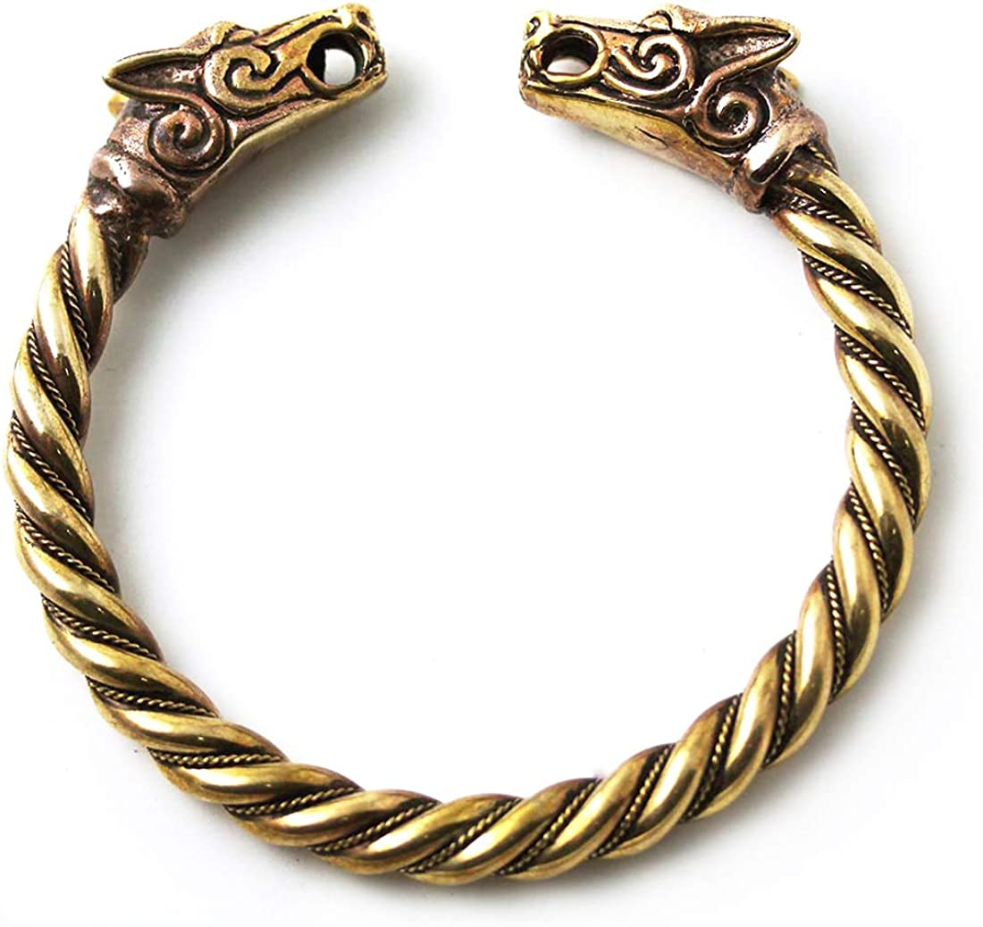 LynnAround Big Size Bronze Norse Viking Fenrir Wolf Head Twisted Cable Bangle Cuff Bracelet Arm Ring Pagan Jewelry