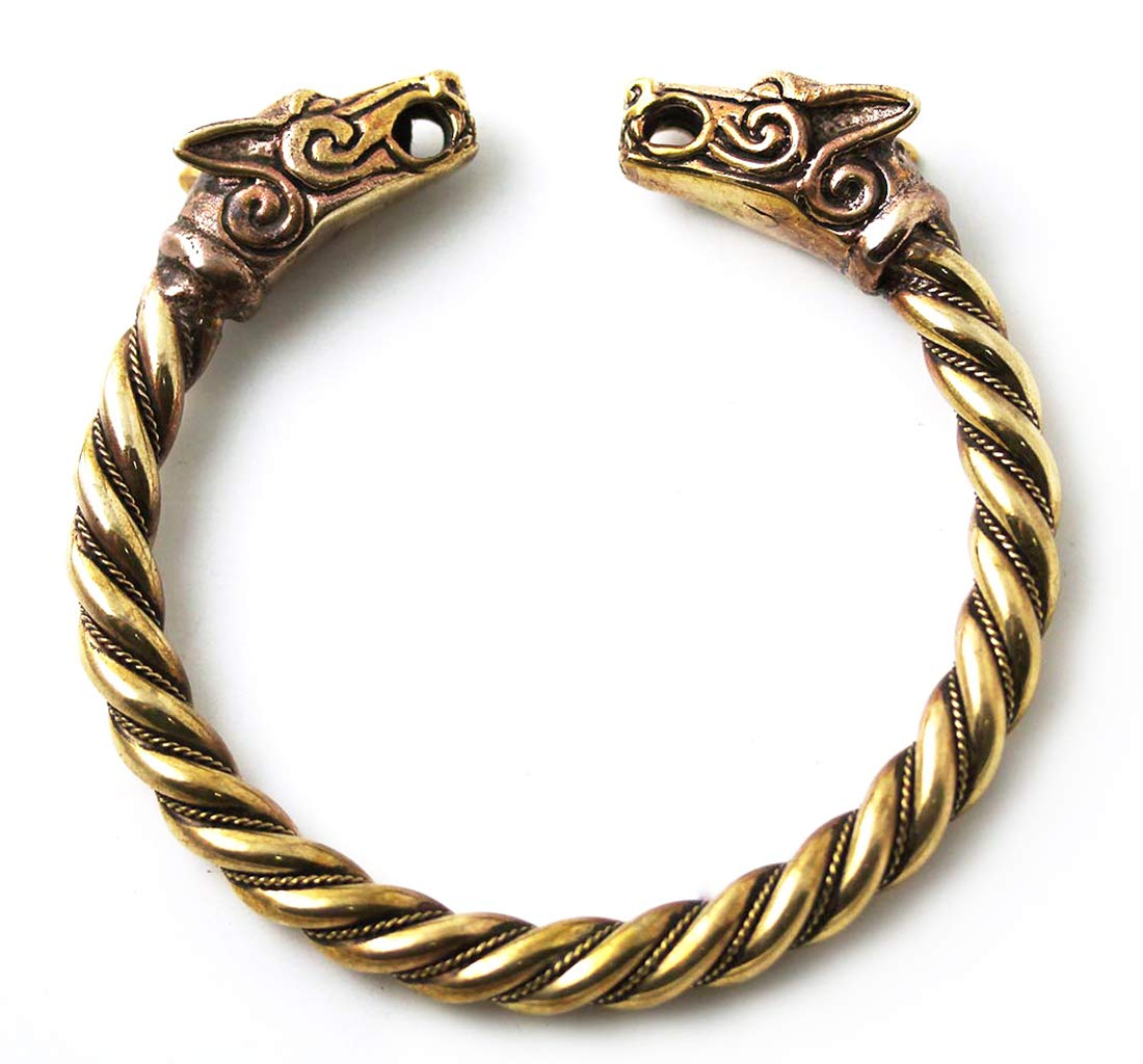LynnAround Big Size Bronze Norse Viking Fenrir Wolf Head Twisted Cable Bangle Cuff Bracelet Arm Ring Pagan Jewelry (8.00, Solid Body)