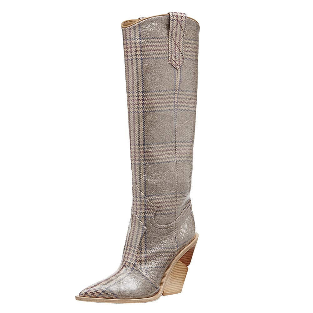- Themost Over The Knee High Boot Womens Cowboy Western Thigh High Boots Wedge Heel shoes Mid Calf Combat Booties (10, Grey)