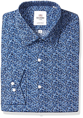 Ben Sherman Men's Floral Print Slim Fit Dress Shirt, Blue, 16.5