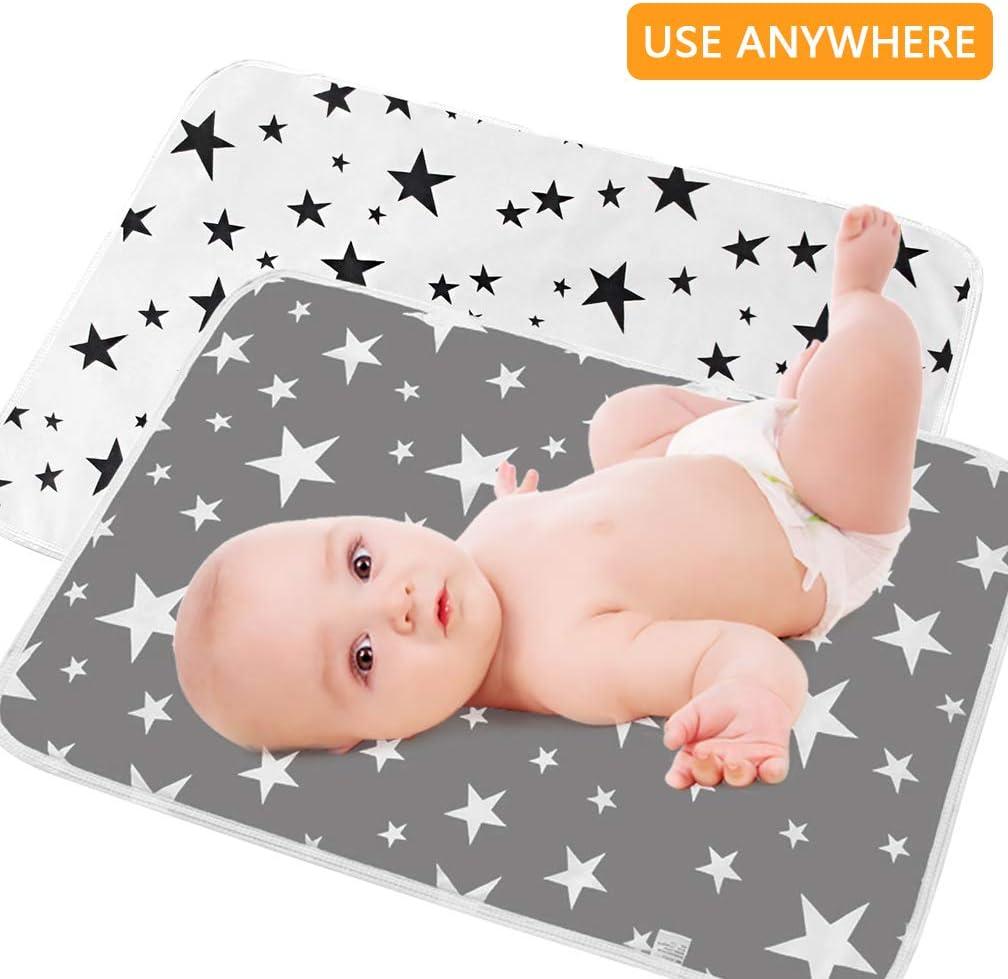 SACONELL Juego de 2 cambiadores impermeables para beb/é de 50 x 70 cm color gris Gris y blanco 2 unidades