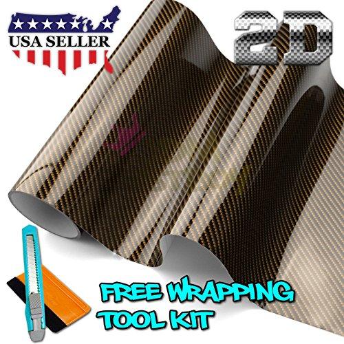 Free Tool Kit 2D High Gloss Glossy Premium Gold Carbon Fiber Vinyl Wrap Sticker Decal Film Sheet (Bubble Free) - - Gold Fibre Carbon