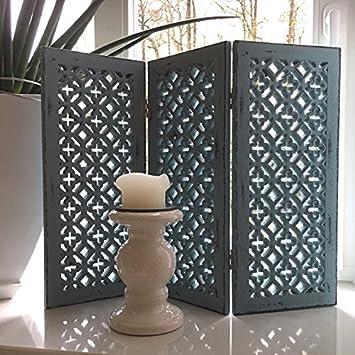 Paravent Shabby Croix Blau Fensterparavent Sichtschutz Fenster Deko