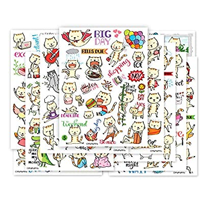 Cat Fan related Products Cute CAT Planner Sticker – 10 Sheets Size 4 X 5.5 Inch [tag]