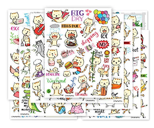(Cute CAT Planner Sticker - 10 Sheets Size 4 X 5.5)