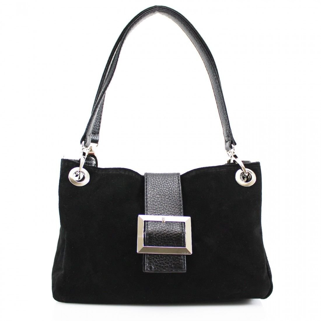 d6671b7946b2 New Ladies Real Italian Suede Leather Buckle Women Shoulder Clutch Tote  Hand Bag (Black)  Handbags  Amazon.com