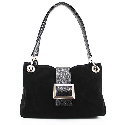 03b61f759b40 New Ladies Real Italian Suede Leather Buckle Women Shoulder Clutch Tote  Hand Bag (Black)
