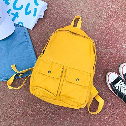 BAGEHUA 女子学生のキャンパスリュックサック All-Match フルーツカラーバックパック 14 インチコンピュータバックパックバックパック(高 40 センチ幅 28 センチ厚さ 12 cm ) B076KFFR4PLemon yellow