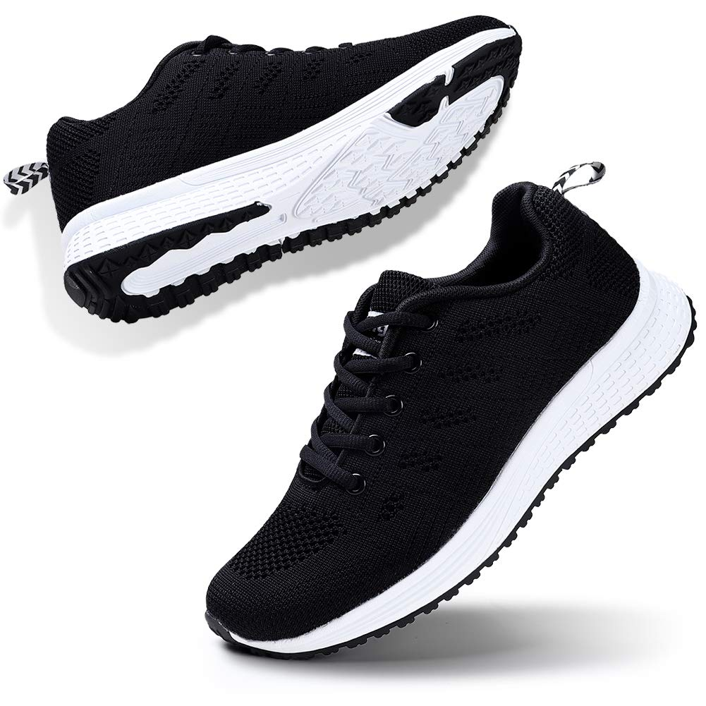 STQ Women's Athletic Walking Shoes Lightweight Gym Mesh Comfortable Trail Athletic Running Shoes(A08hei35) Black
