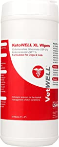 VetWELL Chlorhexidine Wipes for Dogs - Antiseptic & Antifungal Medicated Wipes for Dogs & Cats - Combat Yeast Infection, Acne, Ringworm, & More - Fast-Acting Medicated Dog Wipes - 60 XL Wipes