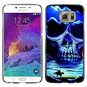 Eason Shop / Hard Slim Snap-On Case Cover Shell - Headless Horseman Skull Night Horse - For Samsung Galaxy S6 SM-G920