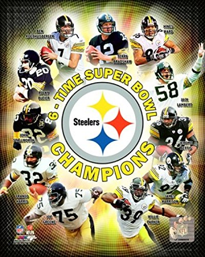 Pittsburgh Steelers 6 Time Super Bowl Champions Composite Photo Print  16 X 20