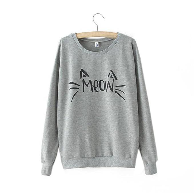 ... Meow Felino Estampado Cuello Redondo Blusa Casual Camisetas de Manga Larga Chica Top Sweatshirt Sencillos T-Shirt Otoño: Amazon.es: Ropa y accesorios