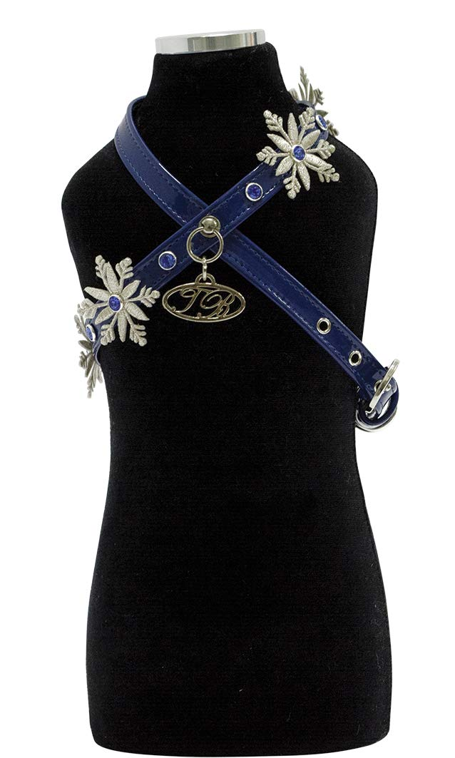 Trilly tutti Brilli Yannp Harness with Swarovski Rivets And Fabric Snowflakes, bluee Patent, Small