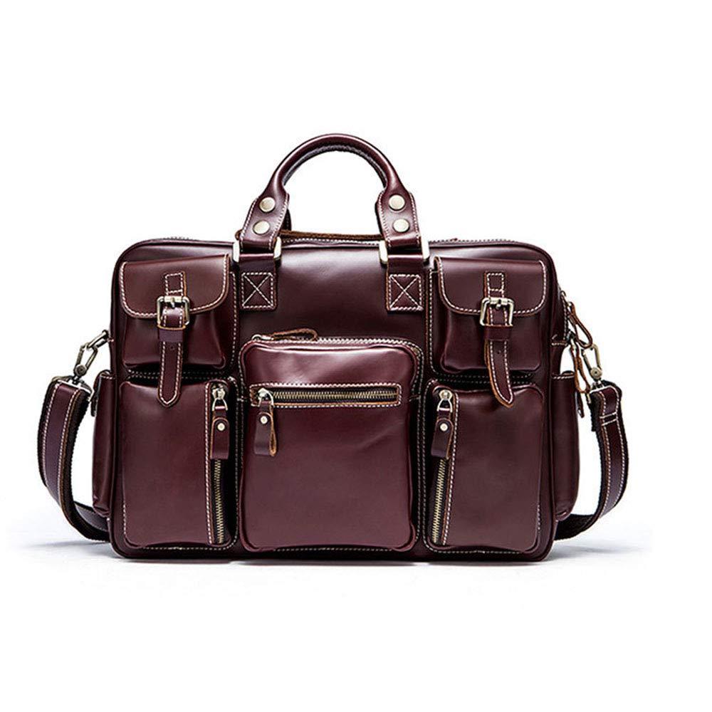 婦人用バッグ ファッションレザーメンズバッグ大容量モバイルトラベルダッフルバッグバックパックメッセンジャーショルダーバッグ (色 : ワインレッド)  ワインレッド B07RHNB7PZ