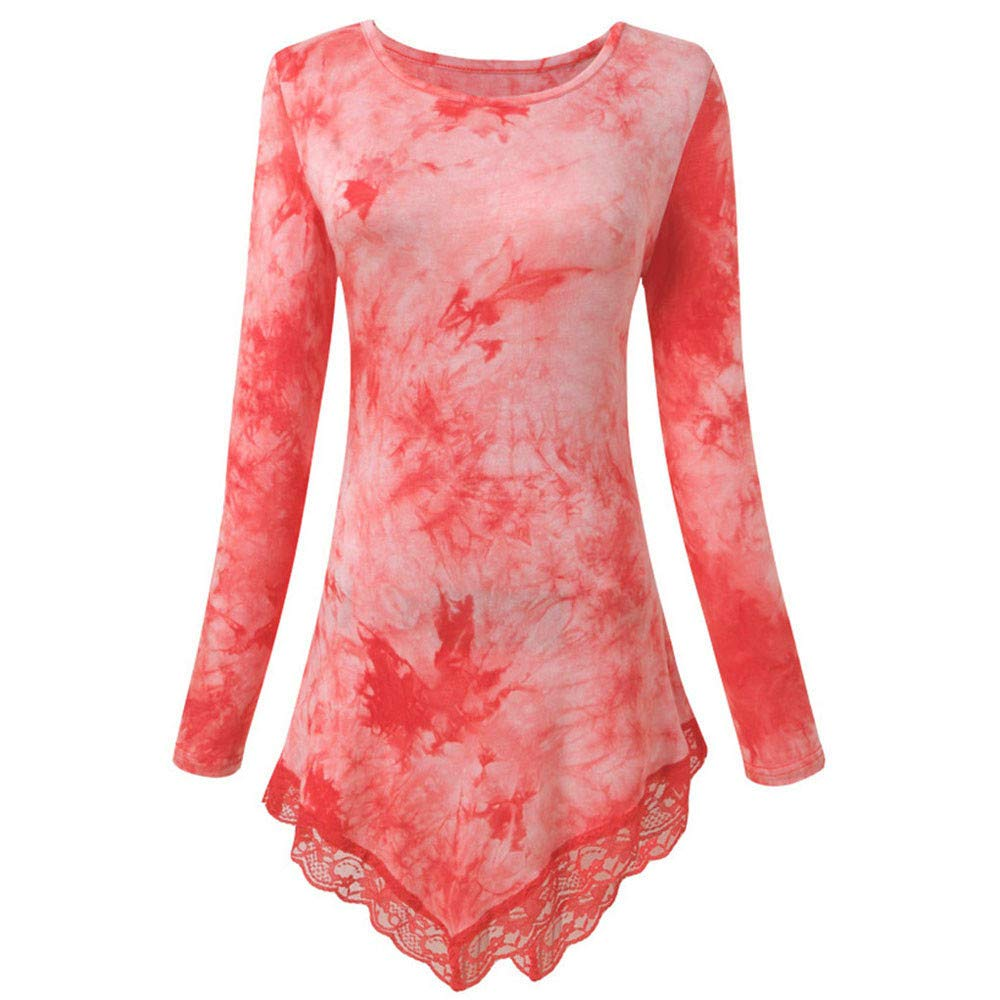 Ciyoon Women Lace Patchwork Printing T-Shirt Long Sleeve Long Tunic Tops Blouse