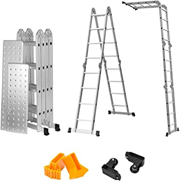 Finether-4.7M Escalera Plegable(15.4 FT, Multi-propósito Extensible, Buena Calidad, Mayor Seguridad, Aluminio) (Sin Panel): Amazon.es: Bricolaje y herramientas