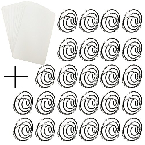 CSPRING 25PCS Round Shape Picture Clip Wire Swirl Place Card Holder with 25PCS White Card Paper for Wedding Party Table, Silver