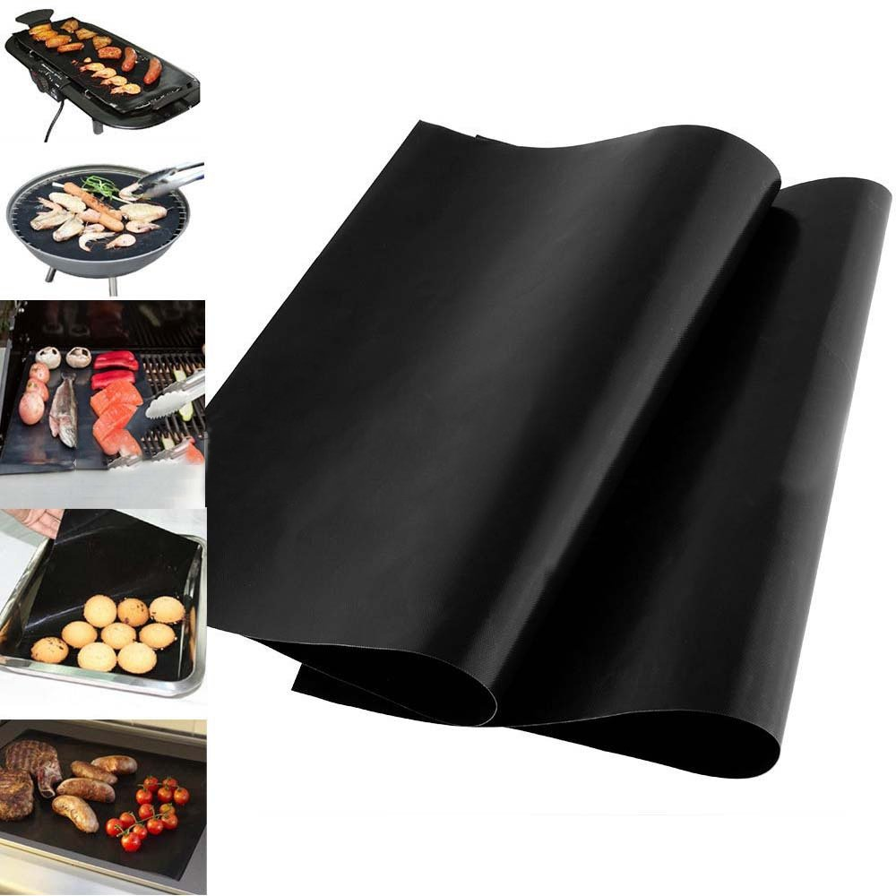 BBQ Grill Mat,Non-stick BBQ Grill & Baking Mats - FDA-Approved, PFOA Free, Reusable and Easy to Clean - Works on Gas, Charcoal, Electric Grill and More - 40*33cm (2) JINGXU
