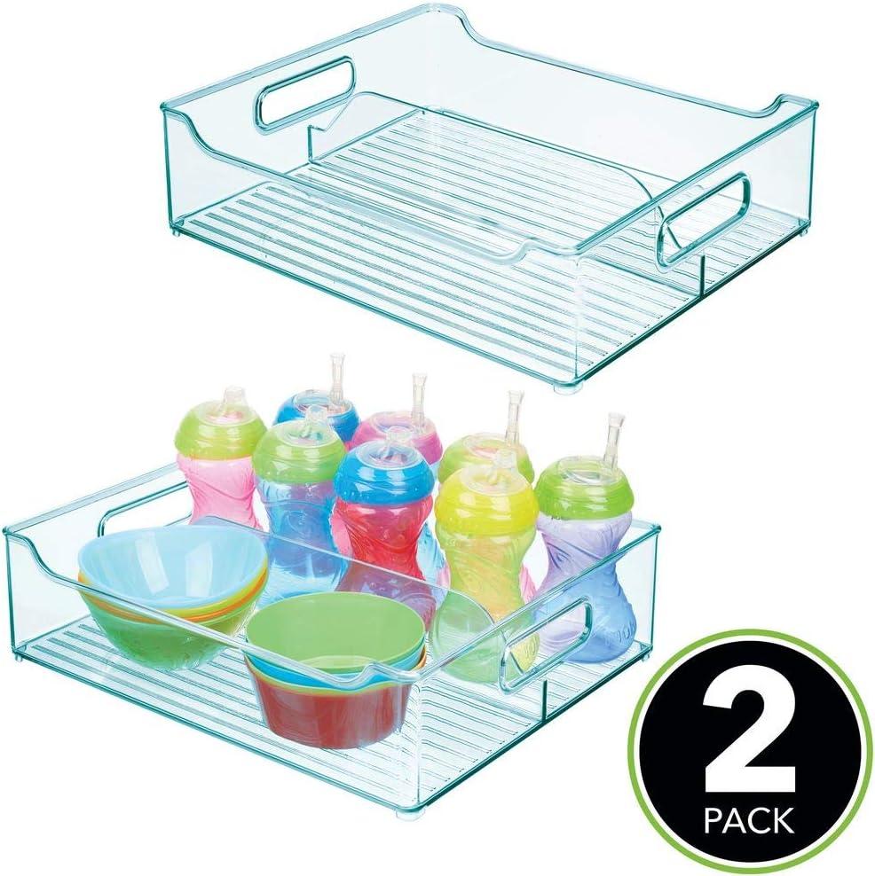 Sortierbox mit praktischen Griffen Kunststoffbeh/älter mit gro/ßem Fach f/ür Spielzeug Windeln - durchsichtig ohne Deckel Stofftiere /& Co mDesign 2er-Set Kinderzimmer Organizer