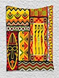 Ambesonne African Decorations Collection, African Elements Decorative Historical Original Striped and Rectangle Shapes Artsy Work, Bedroom Living Room Dorm Wall Hanging Tapestry, Multi