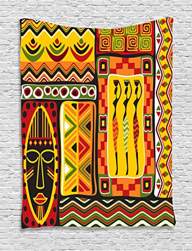Ambesonne African Decorations Collection, African Elements Decorative Historical Original Striped and Rectangle Shapes Artsy Work, Bedroom Living Room Dorm Wall Hanging Tapestry, Multi by Ambesonne