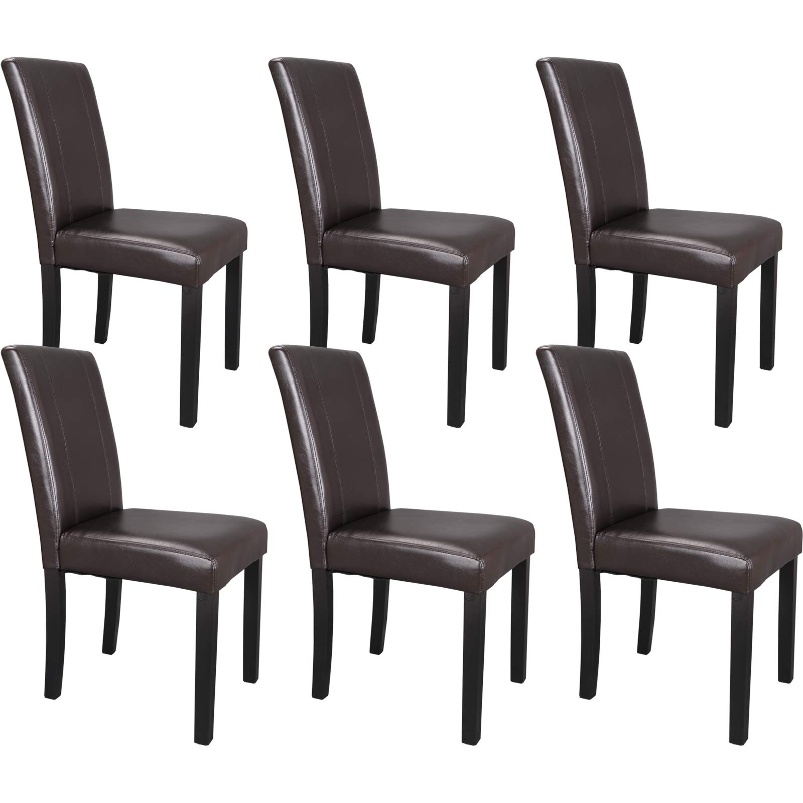 ZENY Leather Dining Chairs with Solid Wood Legs Chair Urban Style, Set of 6 by ZENY