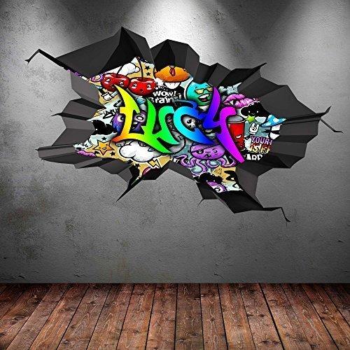 MULTI vollfarbig Personalisierte 3D GRAFFITI NAME AUSGEBROCHENES AUSGEBROCHENES AUSGEBROCHENES WANDKUNST AUFKLEBER WANDSTICKER - Multi, Large  110cm(W) x 70cm (H) B01CNNVC5S Wandtattoos & Wandbilder ca21ae