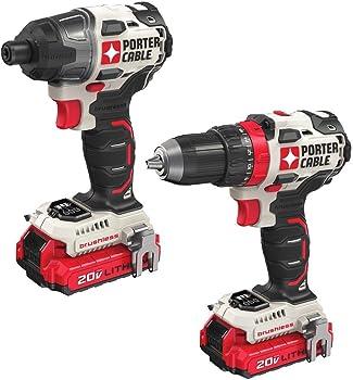 2-Tool Porter Cable 20V Max Cordless & Brushless Drill Combo Kit