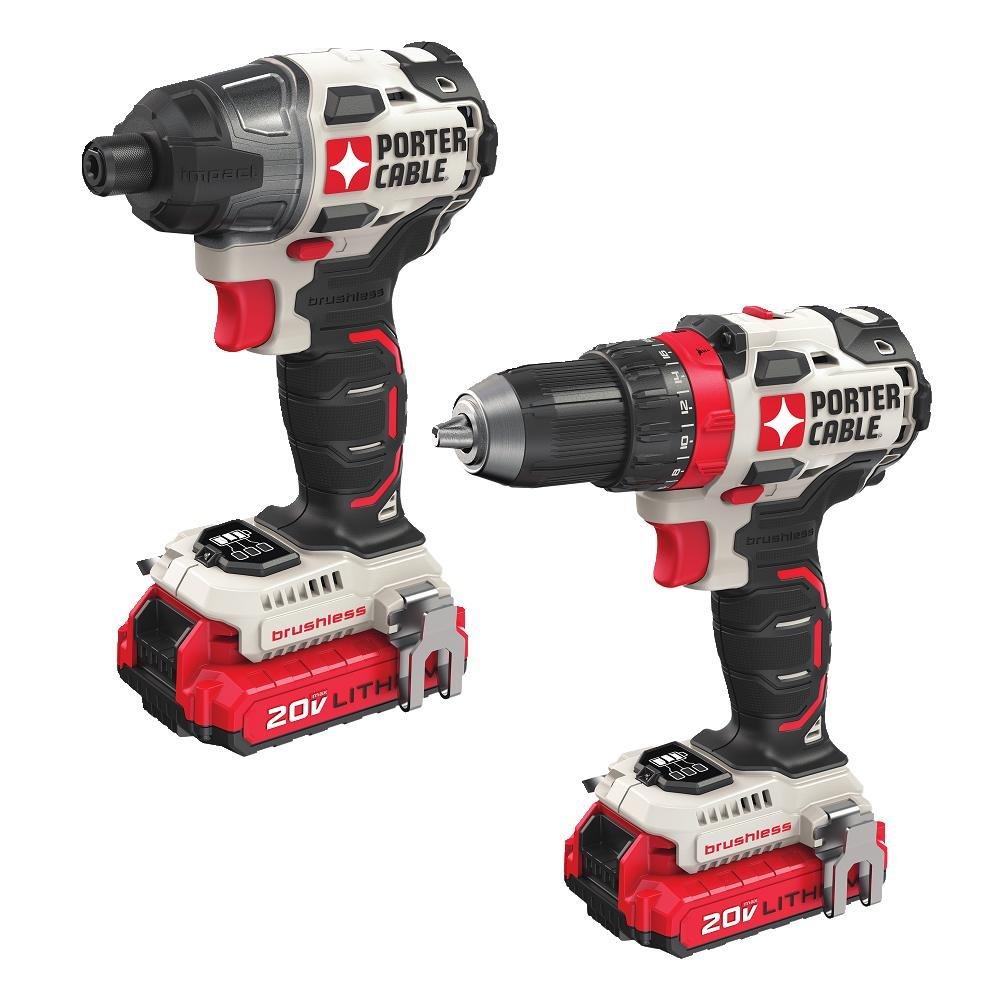 PORTER-CABLE 20V MAX Cordless Drill Combo Kit, Brushless, 2-Tool PCCK619L2