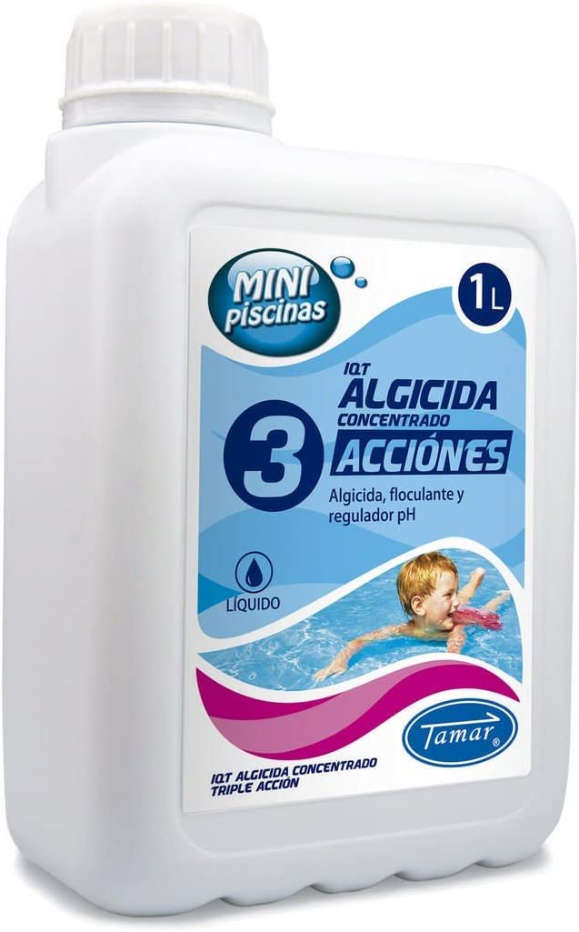 Tamar - Algicida 3 Acciones, especial Mini Piscinas, Garrafa de 1 Litro.