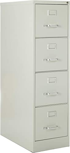 Lorell 4-Drawer Vertical File with Lock, 15 by 26-1 2 by 52-Inch, Light Gray