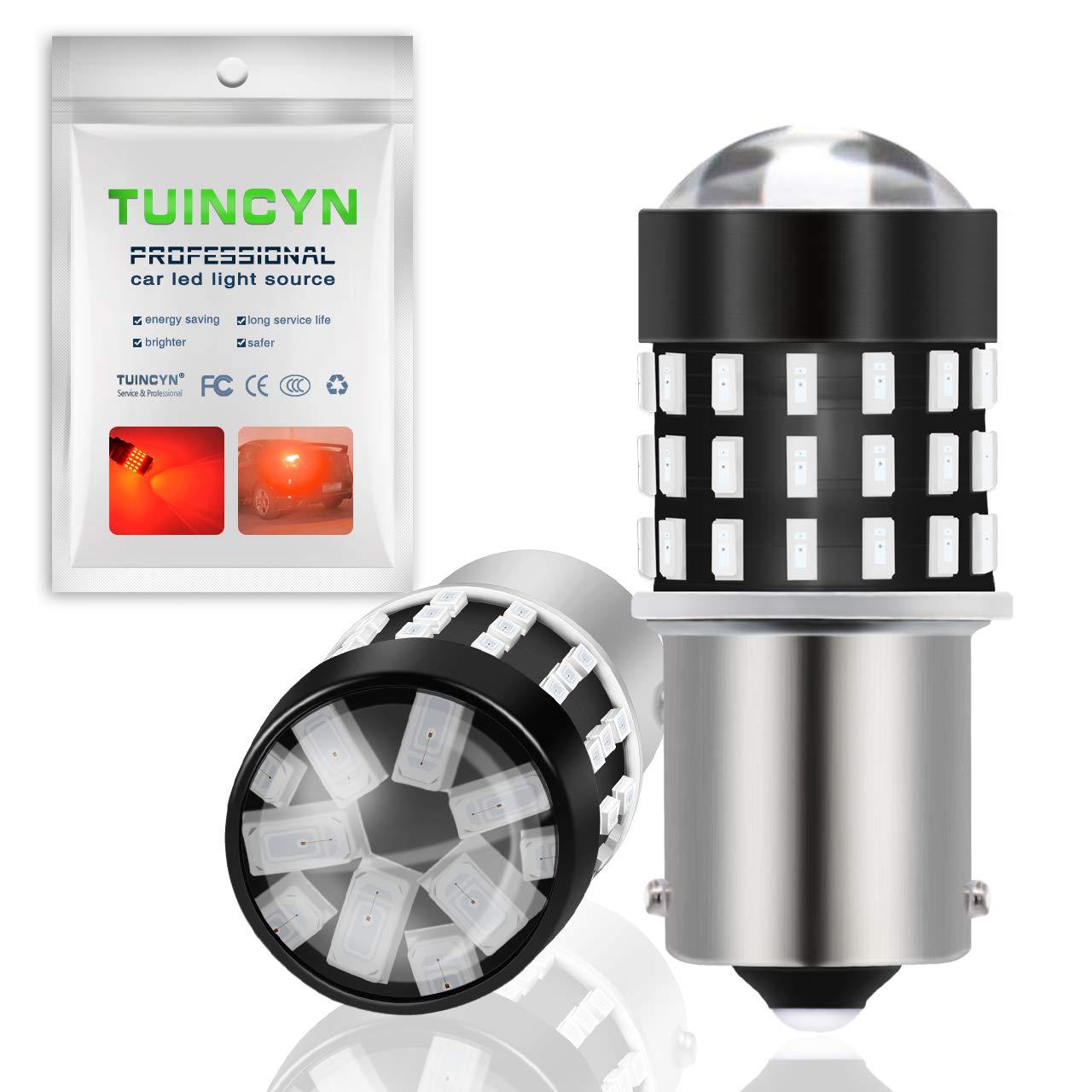 TUINCYN 800 Lumens 921 912 W16W T15 Brake Light Bulb Red 15SMD 2835 Turn Signal Backup Reverse Tail Lights Parking LED Bulbs DC 12V Pack of 2
