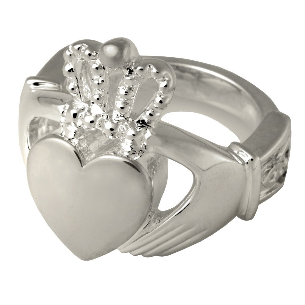 Memorial Gallery 2015WG-7 Claddagh Ring 14K Solid White gold (Allow 4-5 Weeks) Cremation Pet Jewelry, Size 7