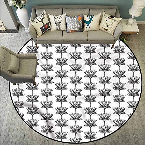 Custom Rugs,Lotus,Monochrome China Flora,Rustic Home Decor,4'7