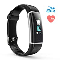 ALLOYSEED Fitness Tracker, Fitness Watch Heart Rate 14 Exercise Modes Monitor Touch Screen (Black)