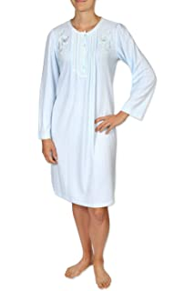 4462407710 Miss Elaine Women s Short Nightgown - Brushed Honeycomb Knit Material -  with Long Sleeves and a