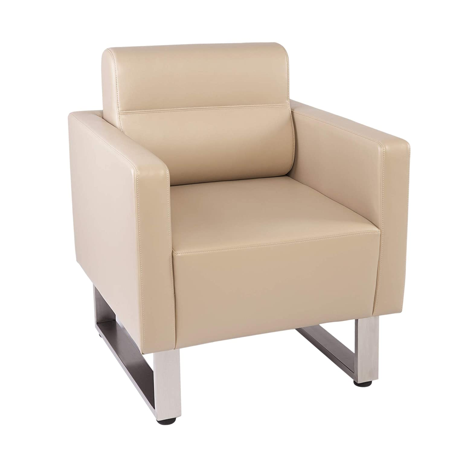 Bon Amazon.com : LuckyerMore Barrel Chair Lobby Chair Leather Occasional Sofa  Chairs Reception Guest Single Sofa For Office Meeting Room Living Room, ...