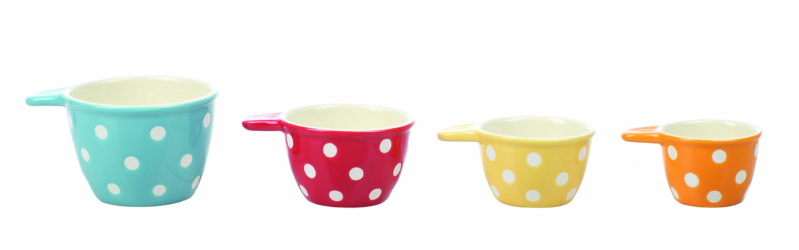Creative Co-Op Polka Dot Ceramic Measuring Cup, Set Of Four, Multi-colored