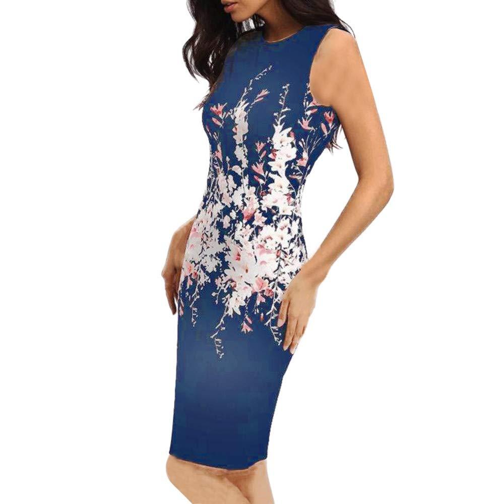 Sexy Summer Women Sleeveless Bodycon, Ladies Evening Party Dress ANJUNIE(Dark Blue,M)