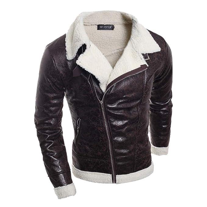 Amazon.com: 2019 Latest Hot Style! Teresamoon Fashion Mens Autumn Winter Warm Fur Liner Lapel Leather Zipper Outwear Top Coat: Home & Kitchen