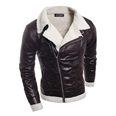 d1dd689ea49d6 kemilove Men s Winter Spread Collar Lamb Cashmere Lined Suede Leather  Trucker Jacket Coats