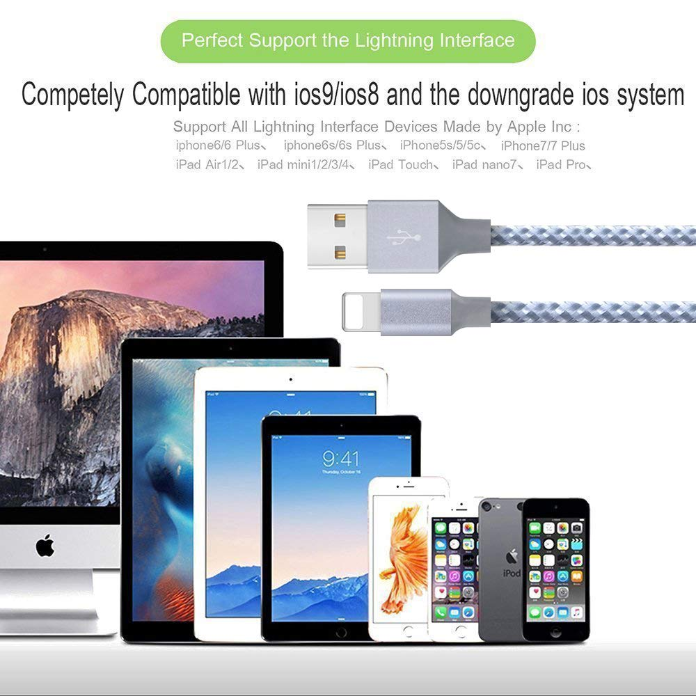 iPhone Charger, Mfi Certified Lightning Cables 4Pack 3Ft 6Ft 10Ft to USB  Syncing Data and Nylon Braided Cord Charger for iPhone