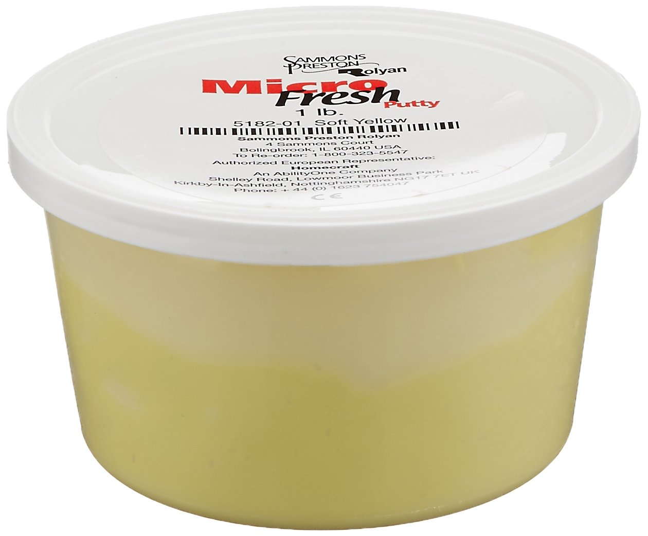 Sammons Preston Micro-Fresh Putty, Antibacterial, Antifungal, and Antimicrobial Therapy Putty for Hands and Feet Exercises, Color Coded Non-Toxic Clay, Soft Yellow, 1 Pound